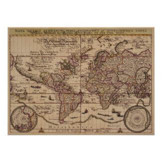"""Old World Map 16th Century Replica Poster"