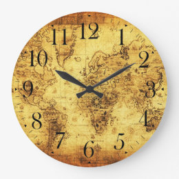 Old world map wall clocks zazzle old world map antique history designer clock gumiabroncs Image collections