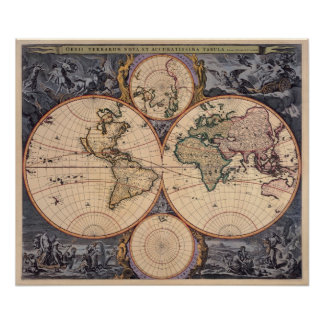Old World Map Antique Map for Poster