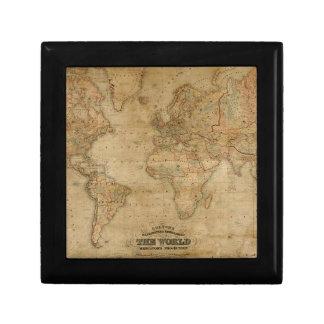 Old World Map Art Tile Gift Box