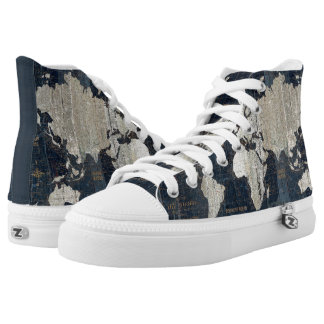 Old World Map Blue High Tops