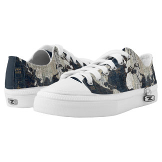 Old World Map Blue Low Tops