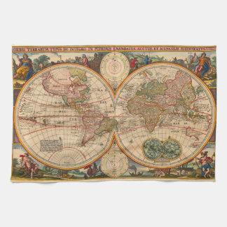 Old World Map by Nicolaas Visscher Tea Towel