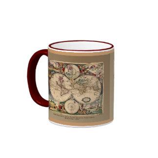 Old World Map Classc Gift Design Ringer Mug