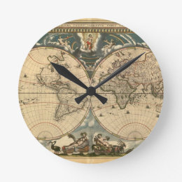 Old world map wall clocks zazzle old world map clock gumiabroncs Image collections
