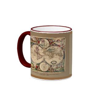 Old World Map Designer Gift Ringer Mug
