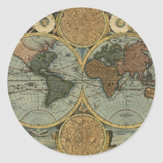 Old World Map Gifts Round Sticker