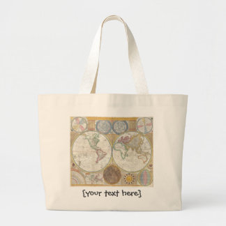 Old World Map In Double Hemispheres, 1794 Large Tote Bag