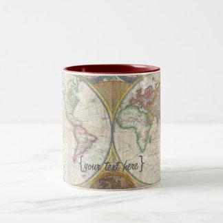 Old World Map In Double Hemispheres, 1794 Two-Tone Coffee Mug