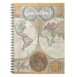 World map notebooks journals zazzle old world map in double hemispheres 1794 notebook gumiabroncs Choice Image