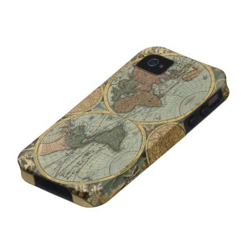 Old World Map iPhone 4 Tough Case
