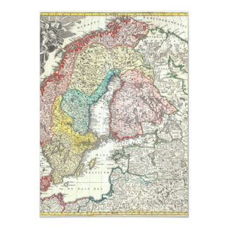 Old World Map of Northern Europe 11 Cm X 16 Cm Invitation Card