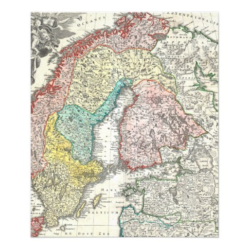 Old World Map of Northern Europe Photo