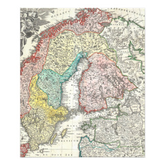 Old World Map of Northern Europe Photograph