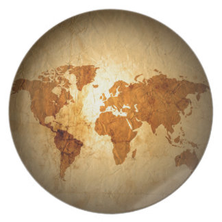 old world map on vintage crinkled paper dinner plates