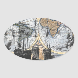 Old World Map - Out to Sea Oval Sticker