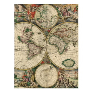 Old world map postcard