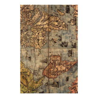 Old World Map Stationery