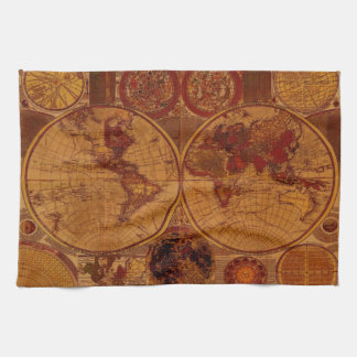 Old World Map Tea Towels