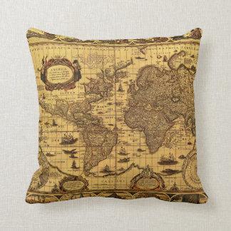 Old World Map Throw Pillow Throw Cushion