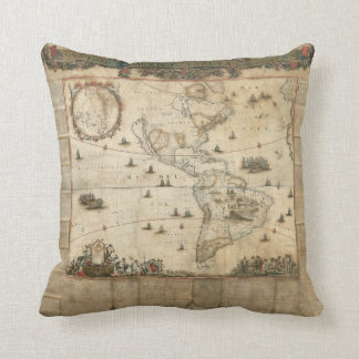 Old World Map Throw Pillow Throw Cushions