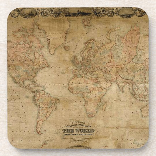 Old world map vintage earth gift coaster zazzle old world map vintage cork coasters publicscrutiny Choice Image
