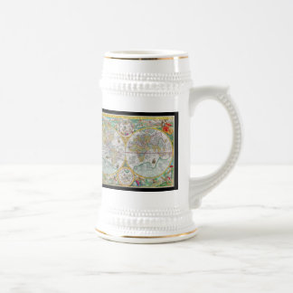 Old World Map with Colorful Artwork Coffee Mugs