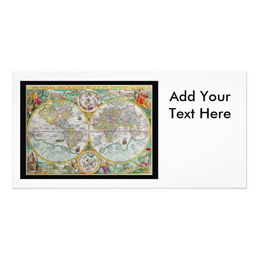 Old World Map with Colorful Artwork Photo Card Template