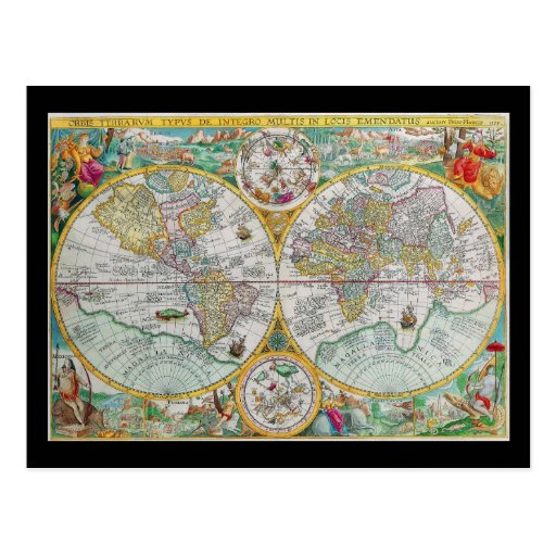 Old World Map with Colorful Artwork Postcard