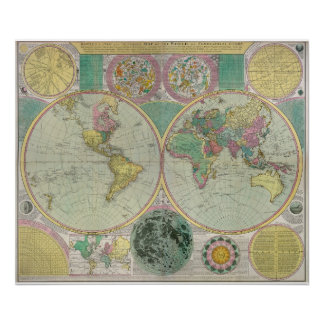 Old World Map with heavenly bodies- Antique Travel Poster