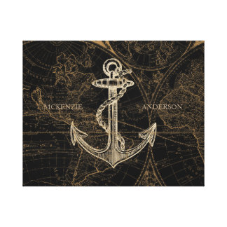 Old World Nautical Anchor Add Name Black Canvas Print
