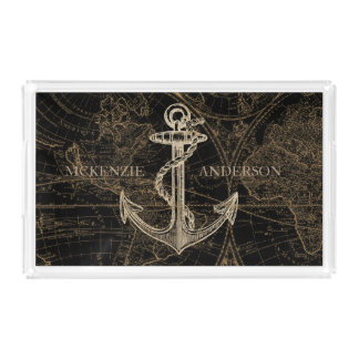 Old World Nautical Anchor Monogram Black Acrylic Tray
