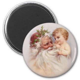 Old World Santa and Cherub 6 Cm Round Magnet