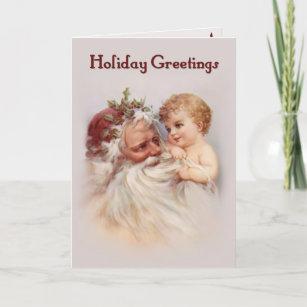 Old World Santa and Cherub Holiday Card