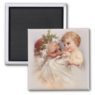 Old World Santa and Cherub Square Magnet