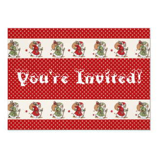 Old World Santa Christmas Tree Trimming Party 5x7 Paper Invitation Card
