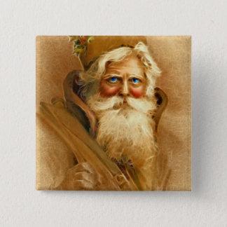 Old World Santa Claus, Vintage Victorian St. Nick 15 Cm Square Badge