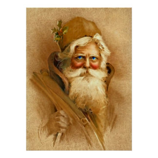 Old World Santa Claus, Vintage Victorian St. Nick Poster