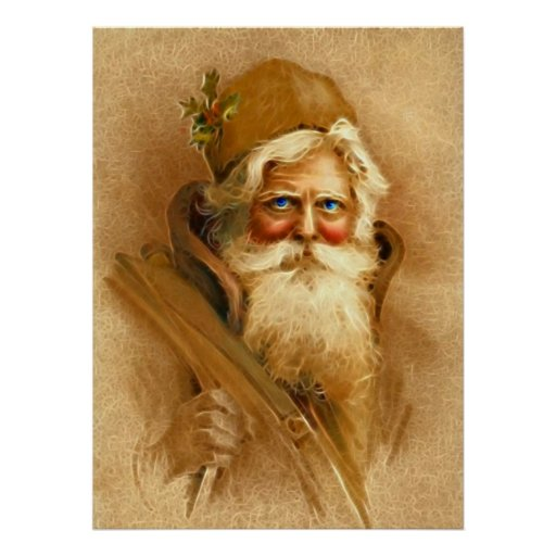 Old World Santa Claus, Vintage Victorian St. Nick Posters