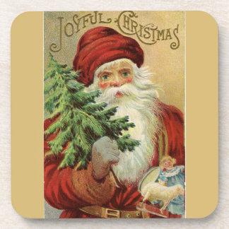 Old World Santa Joyful Christmas Drink Coaster