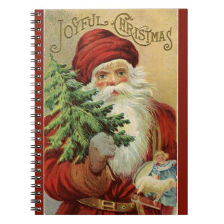 Old World Santa Joyful Christmas Red Notebook