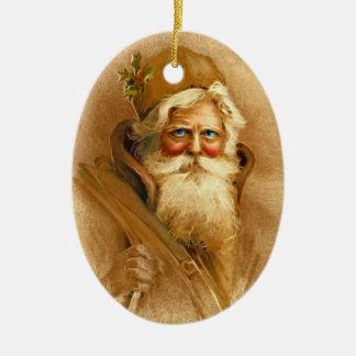 Old World Victorian Santa Claus Ceramic Oval Decoration