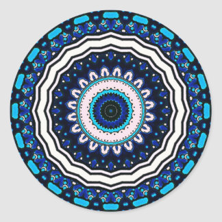 Old world Vintage Moroccan influenced tile design Round Sticker