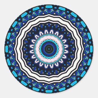 Old world Vintage Moroccan influenced tile design Round Sticker