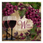 Old World Vintage Red Green Grapes Wine Tasting Custom Invite