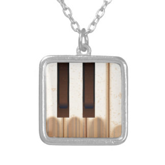 Old Worn Piano Keys Silver Plated Necklace