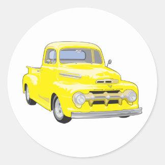 Old Yellow Truck Round Sticker