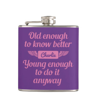 """Old & Young"" custom name flask"