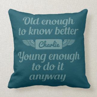 """Old & Young"" custom name throw pillows"