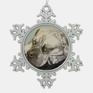 Olde English Bulldogge by Carol Zeock Pewter Snowflake Decoration